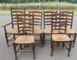 Set of Six Elm Ladderback Rush Seat Dining Chairs